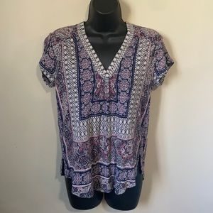 NWT Lucky Brand Printed SS Top Small